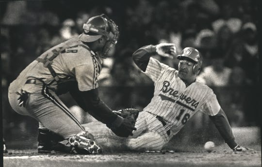 Pat Listach kicks the ball out of Sandy Alomar Jr.'s glove and scores in 1992. The run came after a double into the right-field corner by B.J. Surhoff.