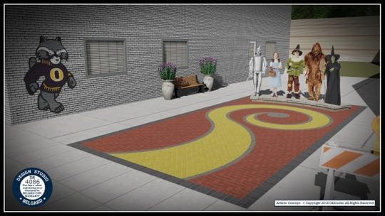 A rendering from Belgard shows what the Wizard of Oz Plaza will look like when it is completed in early August.