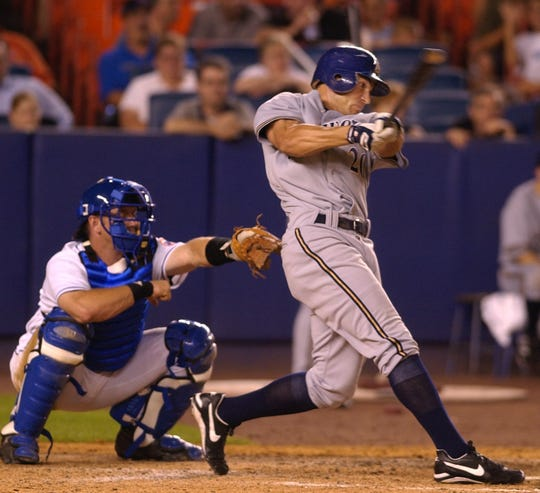 Milwaukee Brewers Scott Posednik hits a tie-breaking two-run single in the ninth inning to help the Brewers to their 4-2 victory over the New York Mets, Monday, July 28, 2003.