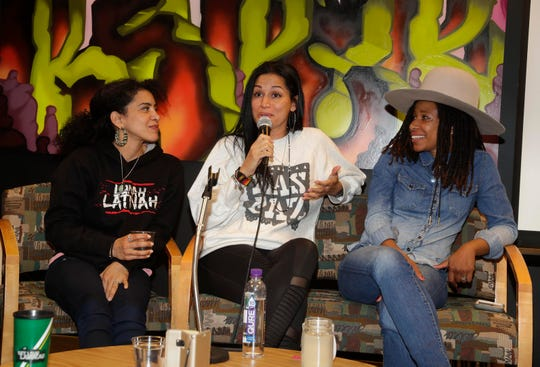 "(From left) breakdancer Ana ""Rokafella"" Garcia,  visual artist Cita ""Chelove"" Sadelli, and MC Aja Black share their experiences with students at True Skool.  The non-profit received a $50,000 grant from the Joyce Foundation, and the chance for students to work with three female hip-hop veterans on a special show being performed at the True Skool Block Party at the Marcus Center July 27."