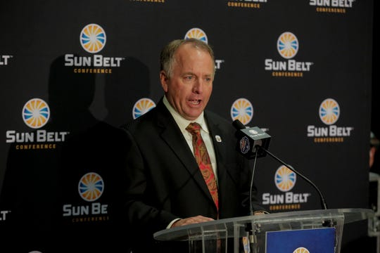 ULM head coach Matt Viator addresses the media during Sun Belt Media Day on Monday inside the Mercedes-Benz Superdome in New Orleans.