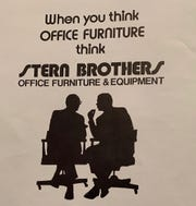 A page of the Stern Brothers catalog shows a silhouette of owners Philip and Louis Stern.