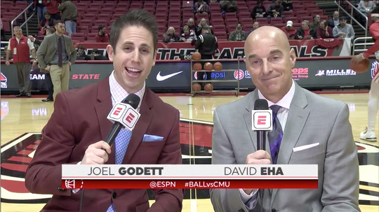 Joel Godett (left) has been Ball State's director of broadcasting since 2015.