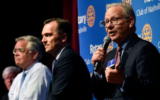 Mayor David Briley, speaks as At-Large Councilman John Cooper, second from left, State Rep. John Ray Clemmons, center, listen as they participate in a Rotary Club of Nashville mayoral forum on Monday, July 22, 2019, in Nashville, Tenn.