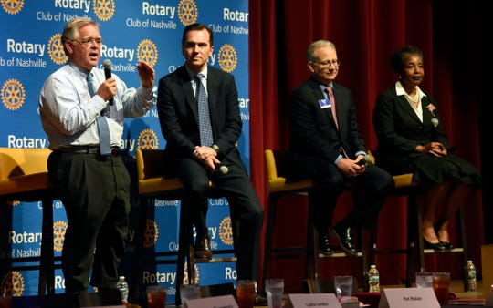 Nashville mayoral candidates, At-Large Councilman John Cooper, left, State Rep. John Ray Clemmons, Mayor David Briley, and retired Vanderbilt University professor Carol Swain participate in a Rotary Club of Nashville mayoral forum on Monday, July 22, 2019, in Nashville, Tenn.