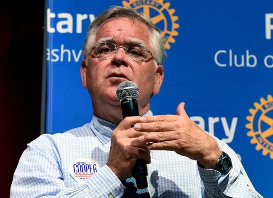 At-Large Councilman John Cooper speaks as he participates in a Rotary Club of Nashville mayoral forum on Monday, July 22, 2019, in Nashville, Tenn.