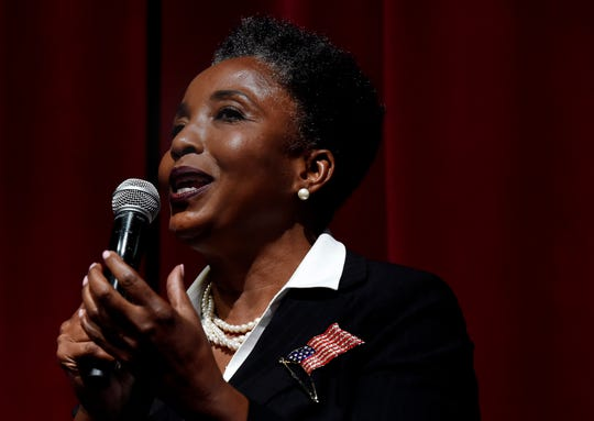 Retired Vanderbilt University professor and mayoral candidate Carol Swain speaks as she participates in a Rotary Club of Nashville mayoral forum on Monday, July 22, 2019, in Nashville, Tenn.