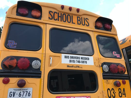 Dickson County School District buses also serve as daily advertisement: Bus drivers are needed.
