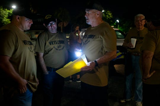 Dale A. Mullin, third from left, president and founder of Wounded Warriors of Collier County organizes fellow members and community volunteers for a homeless veteran count, Monday, July 22, 2019, in Golden Gate.