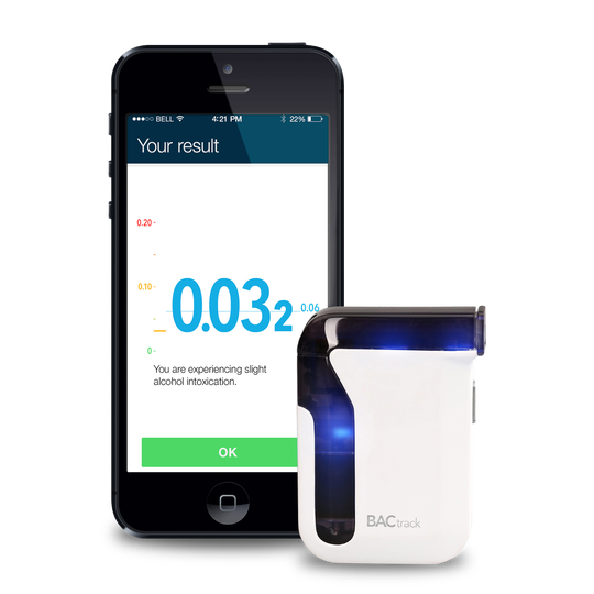 The BACtrack Mobile Breathalyzer, which allows users to gauge their blood alcohol concentrations.