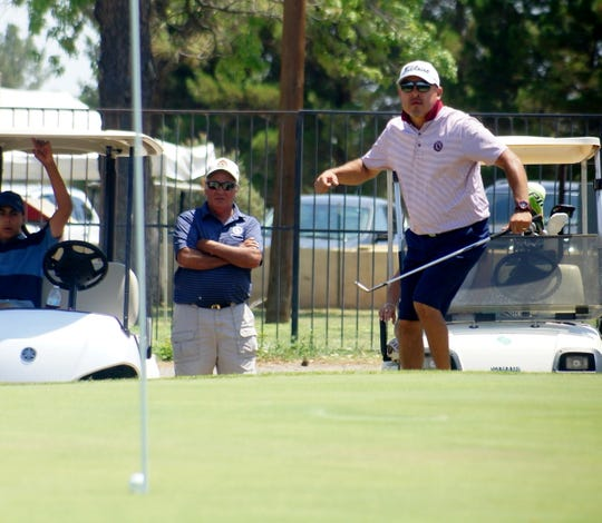 Jimmy Galindo reacts to his ball finding the cup on a 34-foot chip shot on the ninth green. Galindo went on to defeat Joel Stevens on No. 17; 2-and-1 to claim the 66th annual Rio Mimbres Invitational championship.