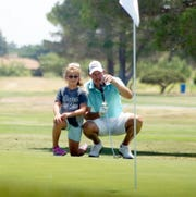 Joel Stevens took advice and moral support from his daughter Maddie during the championship round of the 66th annual Rio Mimbres Golf Invitational.