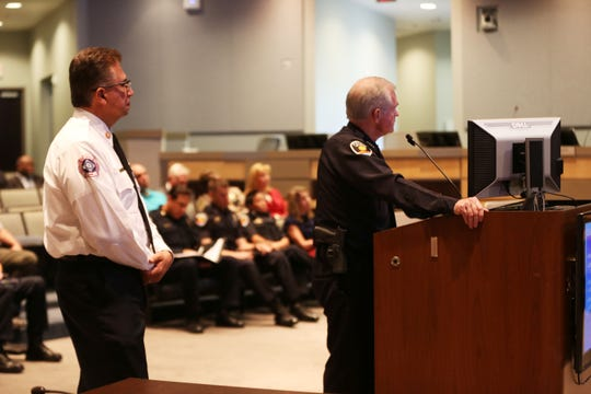 Las Cruces Fire Chief Eric Enriquez, left, and Police Chief Patrick Gallagher present the Las Cruces City Council with a proposal to implement the LEAD, or Law Enforcement Assisted Diversion, program, during a council work session, Monday July 22, 2019.