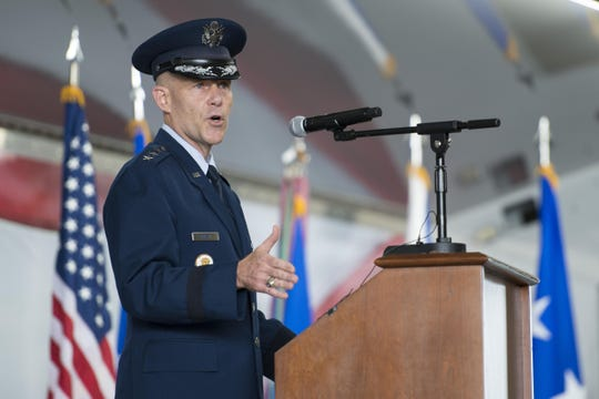 U.S. Air Force Lt. Gen. Steven Kwast, commander of Air Education and Training Command, officially addresses the men and women of the First Command for the first time as their commander during a change of command ceremony Nov. 16, 2017, at Joint Base San Antonio-Randolph, Texas. Kwast, a U.S. Air Force Academy graduate, will pass command of AETC to Lt. Gen. Brad Webb July 26, 2019.