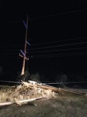 A transmission pole was damaged during a car crash July 21, 2019, in Farmington.