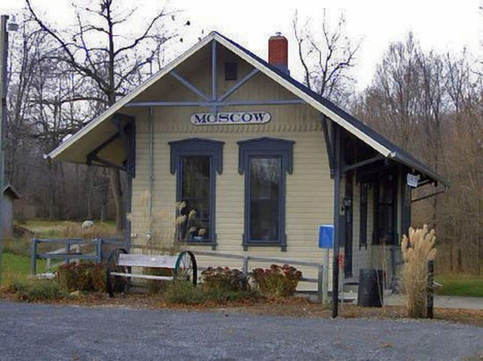 The former train station in Moscow, Michigan is now the town's historical museum.