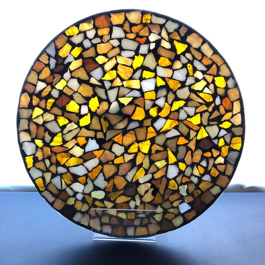 Glass used in mosaics is an ancient art form.