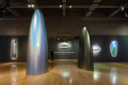 The exhibition entrance, featuring Gisela Colon's Monoliths.