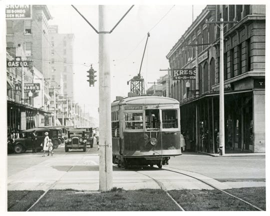 A street car in Pensacola's North Hill is pictured circa 1928.