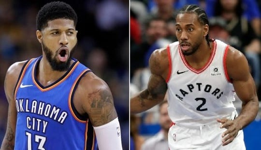 The Los Angeles Clippers were able to lure Paul George (No. 13) and Kawhi Leonard (2) to give them the NBA's top duo.