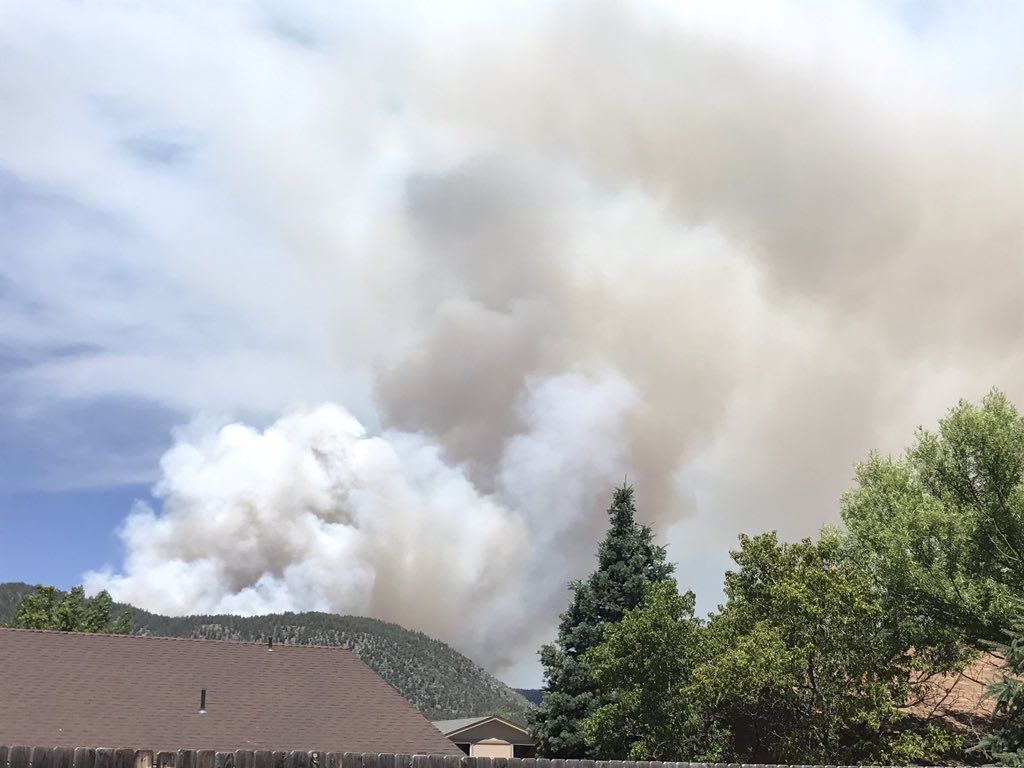 Smoke can be seen in Chesire from the Museum Fire north of Flagstaff on July 21, 2019.