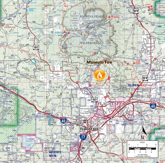 The Museum Fire near Flagstaff grew to 1,000 acres overnight and continues to endanger areas throughout Flagstaff as of Monday, according to wildfire officials.