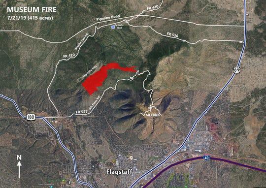 Este mapa muestra los acres que ya han sido consumidos por el 'Museum Fire'.