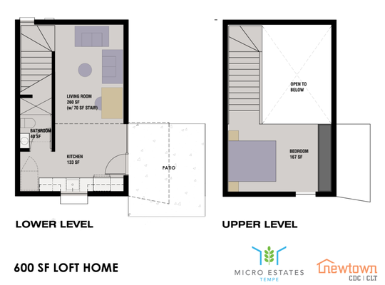 An aerial view rendering of the lower and upper levels of a 600 square foot loft home in the planned two-story Micro Estates Tempe near downtown Tempe.