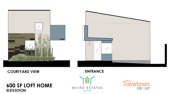 A rendering of a 600 square foot loft home in the planned Tempe Micro Estates.