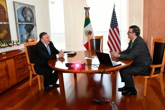 Los cancilleres Mike Pompeo y Marcelo Ebrard abordaron varios temas durante su reunión.