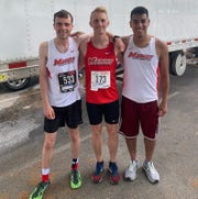 Joel Moss, left to right, Dan Hillman and Omar Perez, a trio of Red Foxes' cross-country and track programs alums, had solid races in the Boilermaker 15Km race.