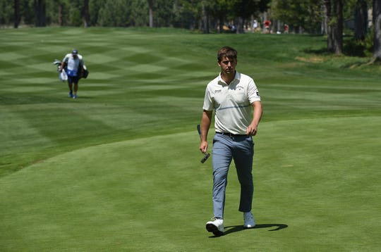 Ollie Schniederjans walks up to his ball on the 15th green during the second round of the Barracuda Championship golf tournament at the Montreux Golf and Country Club in Reno on Aug. 3, 2018.
