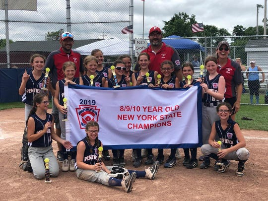 Members of the Penfield Little League girls softball team that won the New York State 8-10 championship include: Front row: Stella Richard, Lexi Cimino, Ella Maley. Second row: Zoe VonDerLinn, Haileigh Burger, Amelia Michael, Jayna Turk, Allison Gardner, Mackenzie Whitehead, Cadence Brecker, Zara Vattimo, Vivian Russo and Haylee Noble. Coaches are Dan Watson, Dan Whitehead and Kelly Maley.
