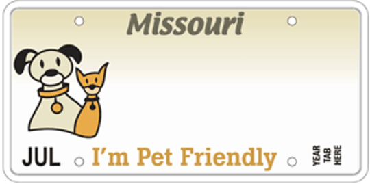 Missouri's I'm Pet Friendly specialty license plate