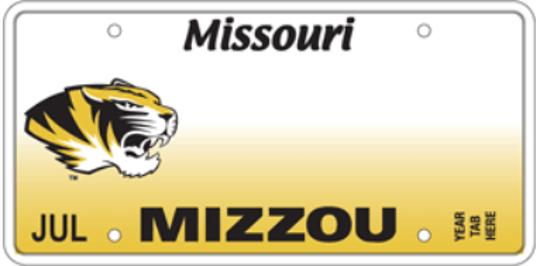 Missouri's Mizzou specialty license plate