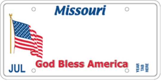Missouri's God Bless America specialty license plate