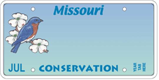 Missouri's Conservation Heritage Foundation Bluebird specialty license plate