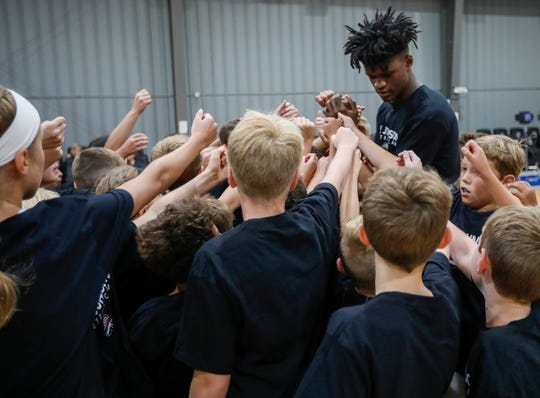 Indiana Pacers forward and Missouri State alumnus Alize Johnson and participants in his basketball camp break up after a huddle at The Basketball Movement in Nixa, Mo., on Monday, July 22, 2019.