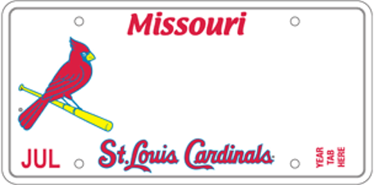 Missouri's St. Louis Cardinals specialty license plate