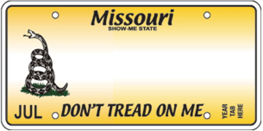 """Missouri's """"Don't Tread on Me"""" specialty license plate"""