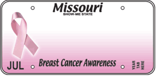 Missouri's Breast Cancer Awareness specialty license plate