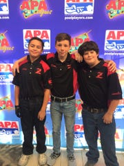 Christopher Jones (left), Peyton Green and Trenton Rottman were the local competitors in the American Poolplayers Association Junior Championship in St. Louis.
