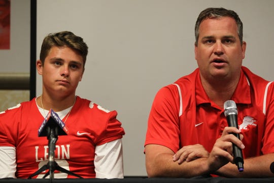 Leon quarterback Paxton Tomaini and head coach Garrett Jahn and schools from across Tallahassee and the Big Bend gathered for high school football media day on July 22, 2019.