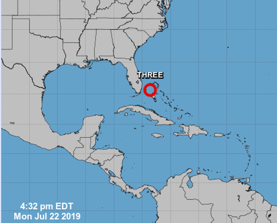 The 5 p.m. July 22, 2019, weather update from the National Hurricane Center shows Tropical Depression Three moving northwest at 13 mph.