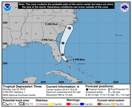 National Hurricane Center 5 p.m. update for Tropical Depression Three