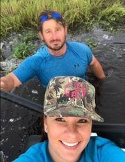 Clayton Humphries (back) with his friend Corinne Fredrick (front). Fredrick said Humphries, who died Sunday, was a tough man who loved Florida.