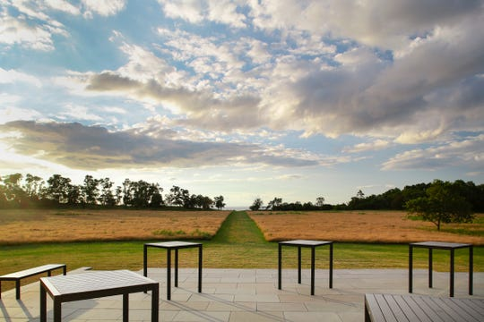 The patio outside the tasting room at Kontokosta Vineyards in Long Island, New York