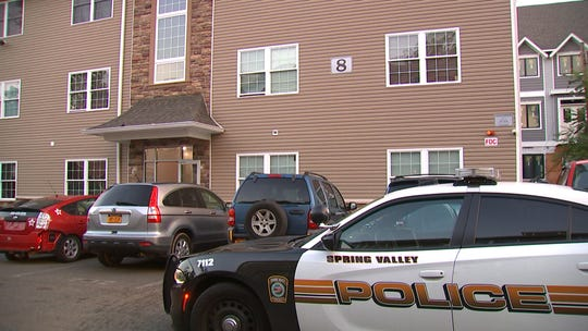 The scene of a stabbing in Spring Valley on Sunday.