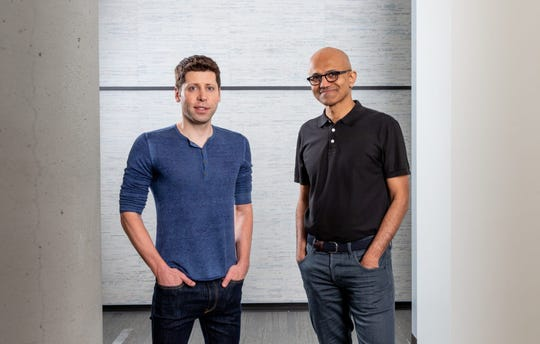 Sam Altman, CEO of OpenAI (left), and Microsoft CEO Satya Nadella (right).