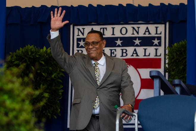 Hall of Famer Tony Perez is introduced during the 2019 National Baseball Hall of Fame induction ceremony.